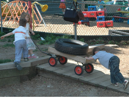 Kids Pushing Wheelbarrow