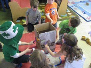 Kids Decorating a Box